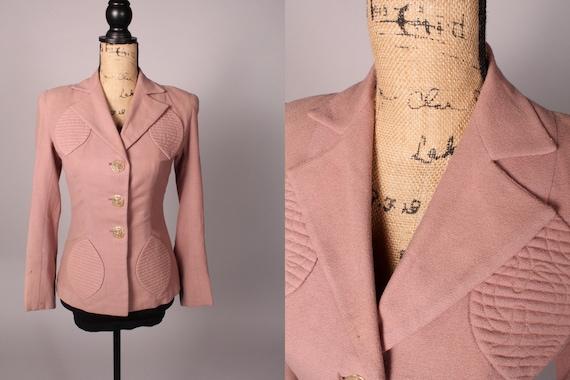 40s Blazer //  Vintage 40s Pale Pink Fitted Blazer