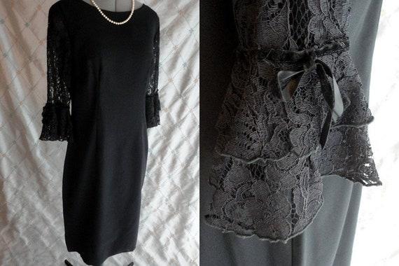 Vintage 50s 60s Dress //  Vintage 50s 60s Black Ra