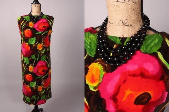 60s Dress //  Vintage 60s Bright Floral Velvet Shi