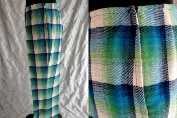50s Pants //  Vintage 50s Pendleton Blue Green Pla