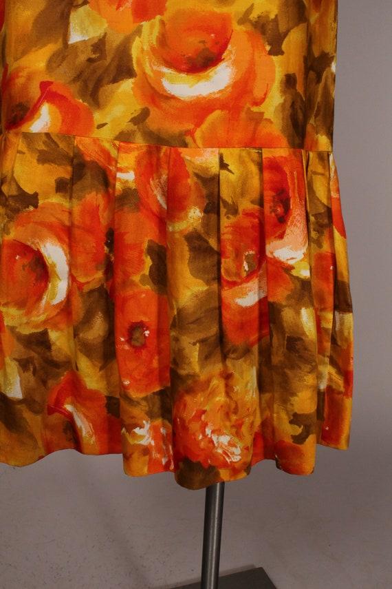 60s 70s Dress //  Vintage 60s 70s Orange Yellow F… - image 8