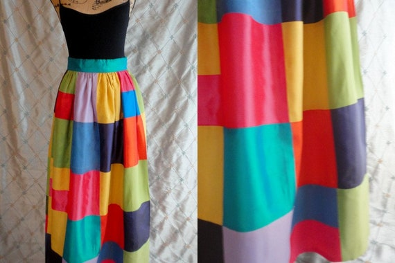 70s Skirt //  Vintage 70s Colorful Patchwork Taffe