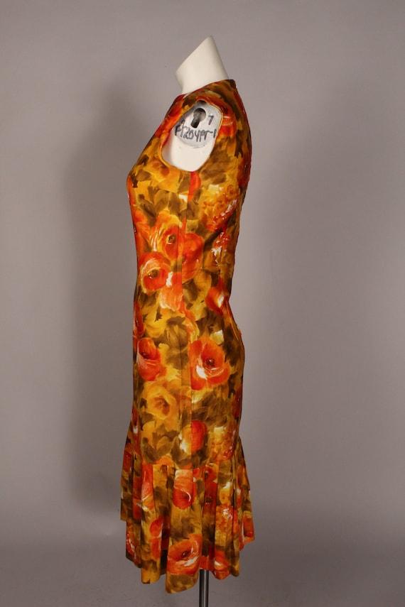 60s 70s Dress //  Vintage 60s 70s Orange Yellow F… - image 9