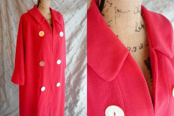 50s Coat //  Vintage 50s Watermelon Pink Swing Coa