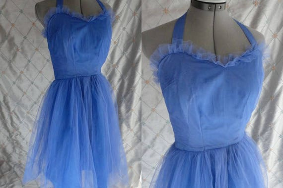 Vintage 50s Dress   Vintage 50/'s Periwinkle Blue Tulle and Satin Prom Dress with Neck Strap Size S 24 waist metal side zipper
