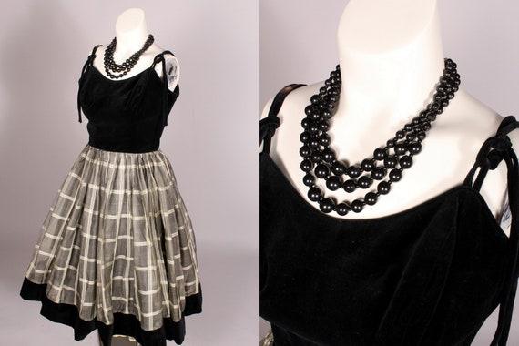 50s Dress //  Vintage 50s Black Velvet & White Gra