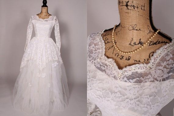 50s 60s Wedding Dress //  Vintage 50s 60s White La