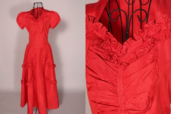 30s 40s Dress // Vintage 30s 40s Red Taffeta Ruffl