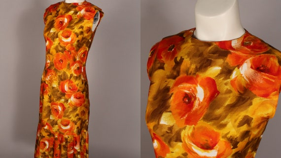 60s 70s Dress //  Vintage 60s 70s Orange Yellow F… - image 1