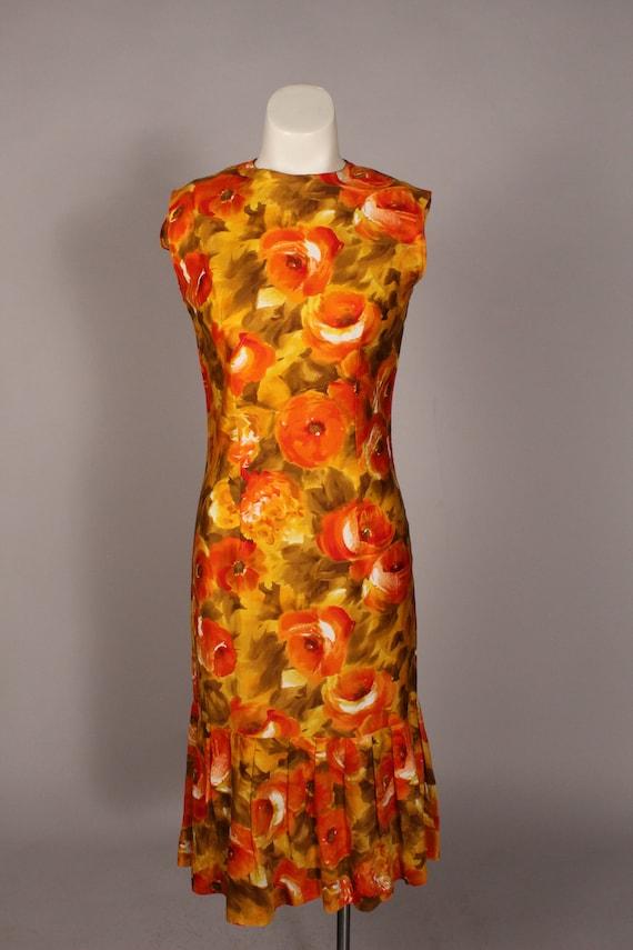 60s 70s Dress //  Vintage 60s 70s Orange Yellow F… - image 2