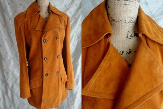 70s Jacket //  Vintage 70's  Rust Orange Suede Jac