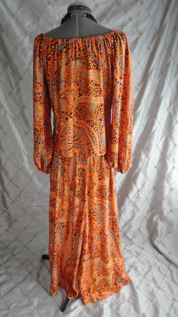 60s 70s Dress //  Vintage 60s 70s Orange Paisley … - image 5