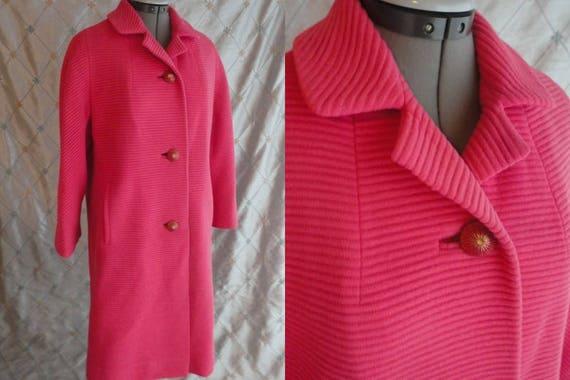 Vintage 50s 60s Coat //  Vintage 50s 60s Pink Ribb