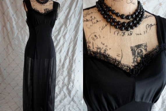 50s Nightgown //  Vintage 50s Black Sheer Nylon Ch