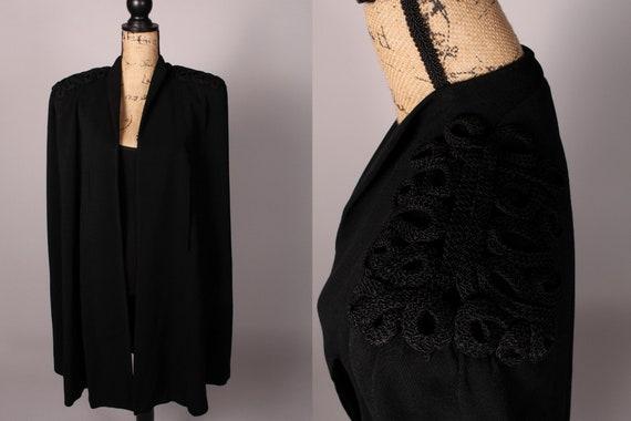 30s 40s Cape // Vintage 30s 40s Black Gabardine Ca