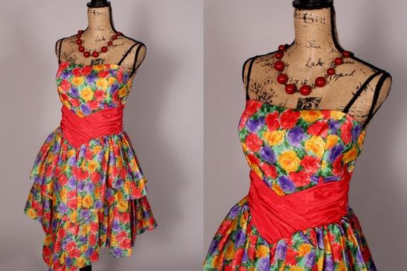 80s Dress //  Vintage 80s Multicolor Floral Print