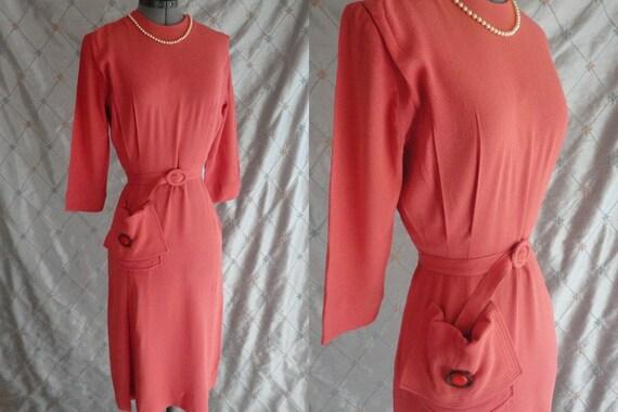 Vintage 30s 40s Dress // Vintage 30s 40s Melon Pin
