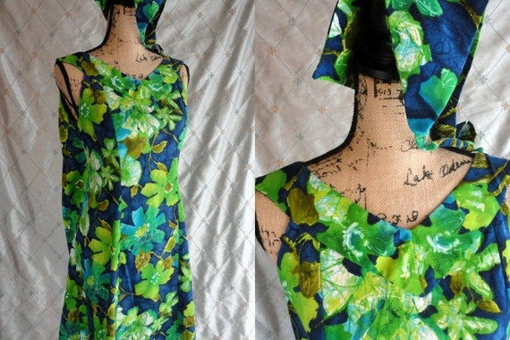 60s 70s Dress //  Vintage 60s 70s Blue Green Flora