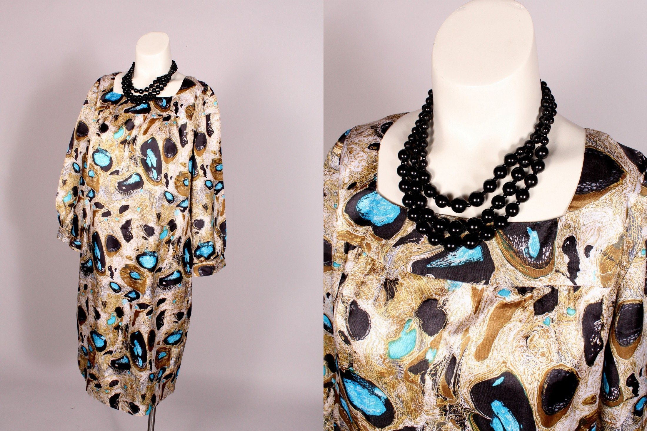 60s -70s Jewelry – Necklaces, Earrings, Rings, Bracelets 60S Dress  Vintage Olive Tan  Blue Satin Abstract Print Size M $41.00 AT vintagedancer.com