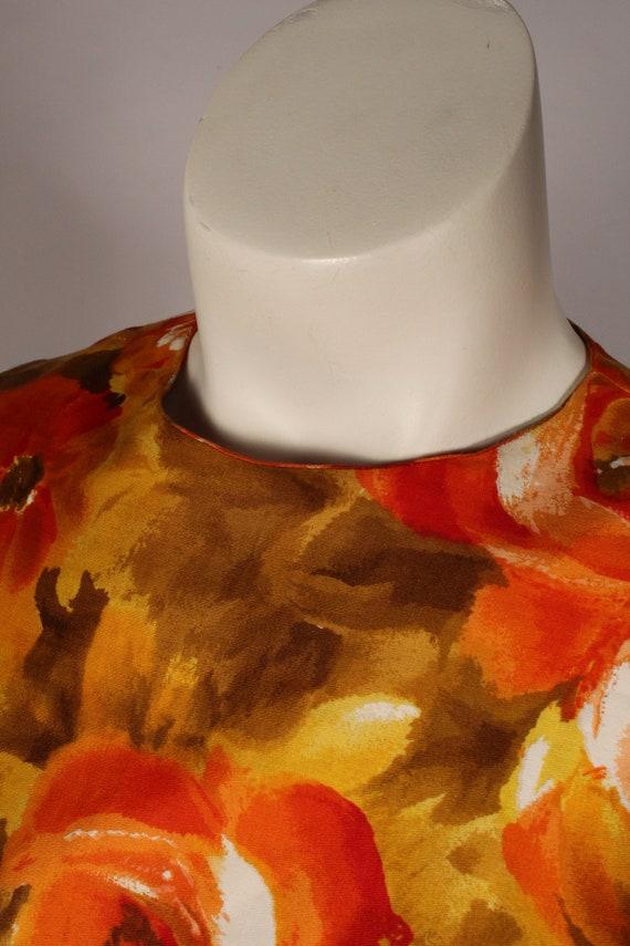 60s 70s Dress //  Vintage 60s 70s Orange Yellow F… - image 5