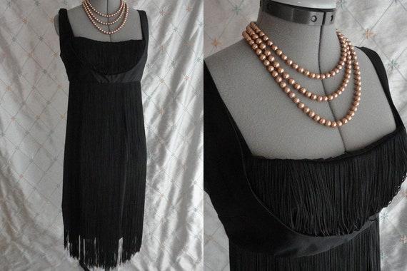 Vintage 50s Dress //  Vintage 50's Black Fringe Co