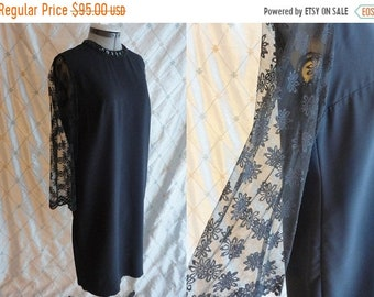 ON SALE 60s Dress // Vintage 1960s Black Shift Dress with Sequin Collar and Lace Floral Sleeves Size L Xl 38 waist