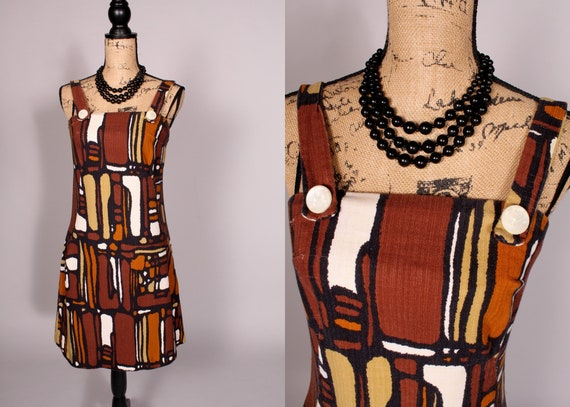 60s 70s Dress //  Vintage 60s 70s Brown Black Prin