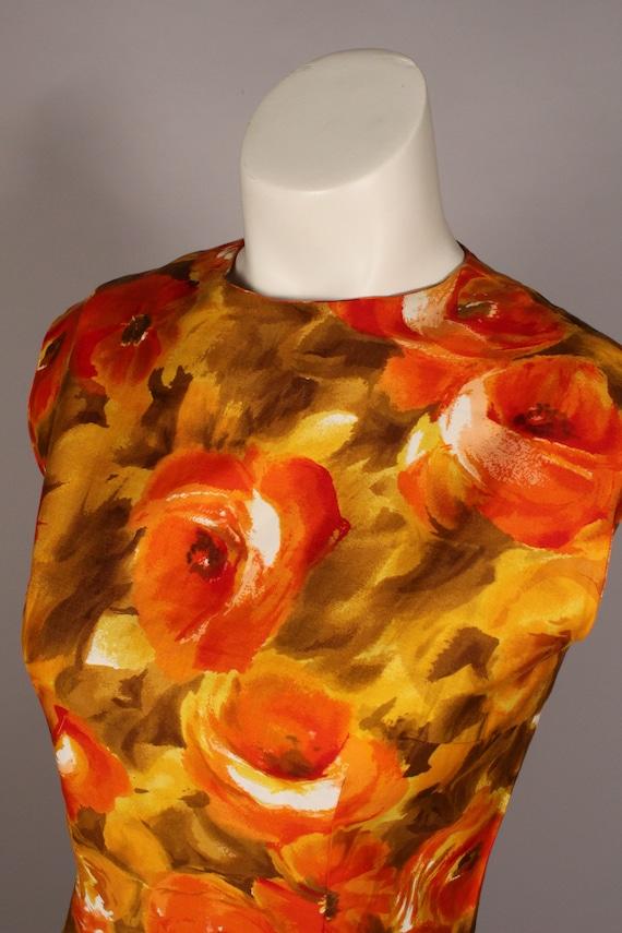 60s 70s Dress //  Vintage 60s 70s Orange Yellow F… - image 6