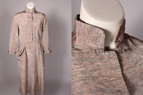 30s 40s Dress //  Vintage 30s 40s Tan Dupioni Silk