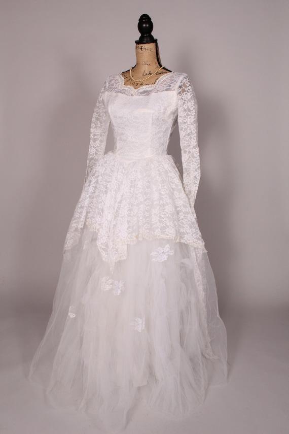 50s 60s Wedding Dress //  Vintage 50s 60s White L… - image 6