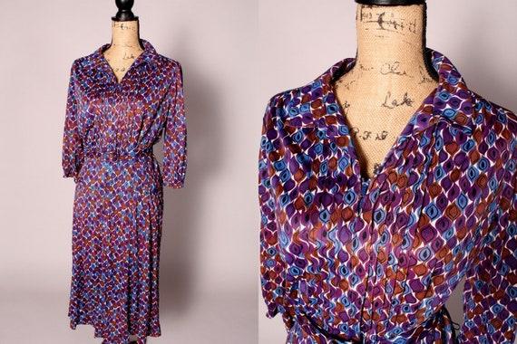 40s 50s Dress //  Vintage 40s 50s Blue Purple Brow