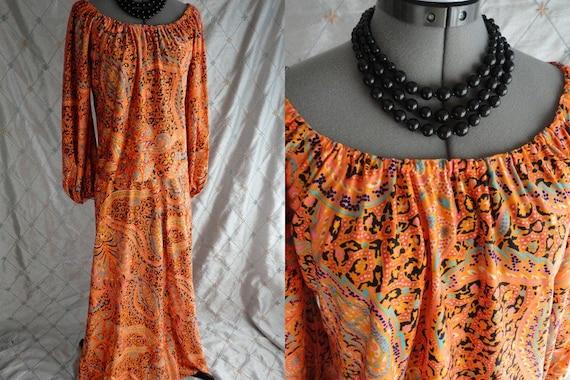 60s 70s Dress //  Vintage 60s 70s Orange Paisley P