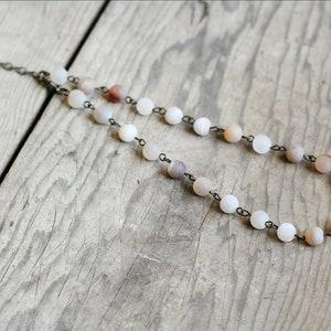 Men/'s Chrysanthemum Stone Seafoam Quartz and Smoke Glass Gemstone Beaded Necklace