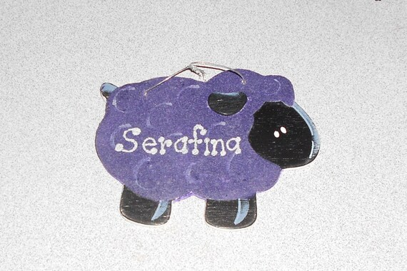 Personalized Wooden Sheep Ornament or Gift Tag