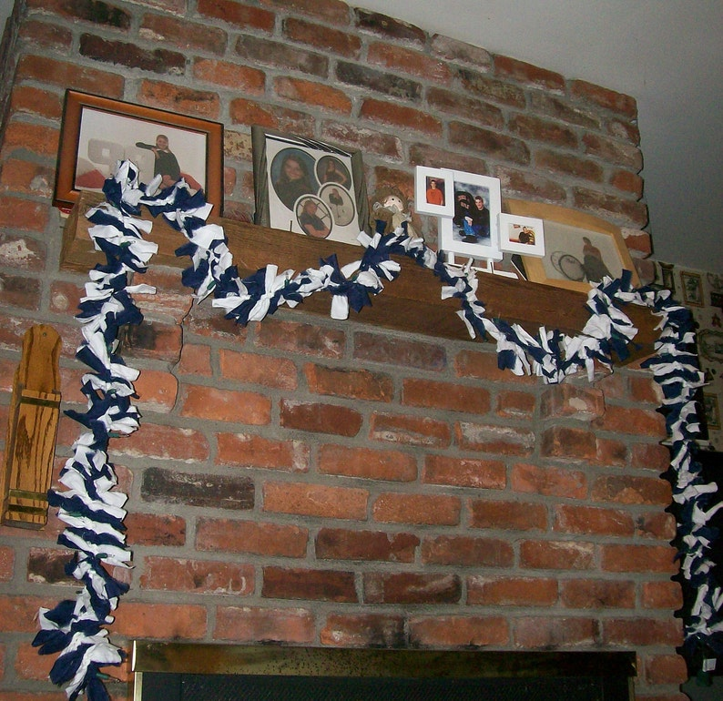 Fireplace School Spirit Dark Blue and White Garland with Lights Hanukkah Decor Mantel Window Lighted Garland Table Game Day Dorm