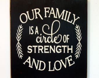 Our Family Is A Circle Of Strength Sign Etsy