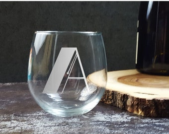 Art Deco 1930s Monogram Vintage Initials Letters | Etched Custom Stemless Wine Glass | Personalized Gift | Wedding Glass | Great Gatsby