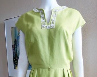 1960s Lime Green Linen Dress - Large