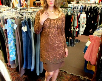 1960s Brown and Pink Lace Dress