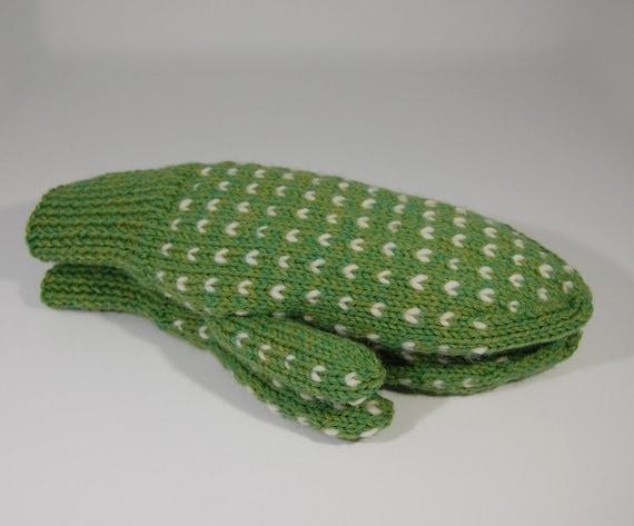 Hand Knit Thrummed Fleece Lined Mittens In Wool Green Etsy