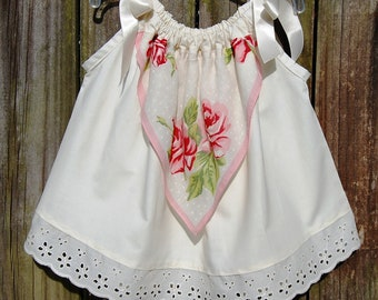 Vintage Baby Clothes, Baby Girls Dress, Tunic, Top, Ivory Cotton, Tea Stained, Pink Roses Hanky, Eyelet Lace, Boho Baby Girl, Shower Gift