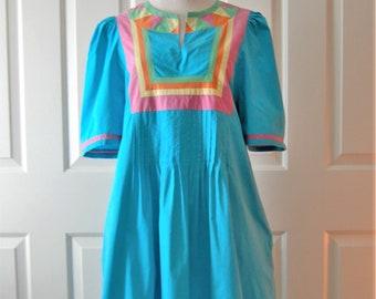 1970s Bohemian Dress, Patio Dress, Boho Teal Green Cotton Cover Up, Pleats, Loungewear, Short Puff Sleeves, Hippie, Beach Wear, Size Small