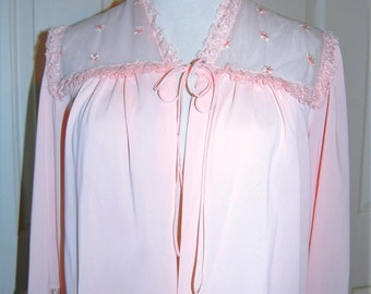 1950s Bed Jacket, Pink Nylon Chiffon, 50s Lingerie, 3 Quarter Puff Sleeves, Tie Front, Lace Trim, Small, Shadowline Robe,  Gift for Her