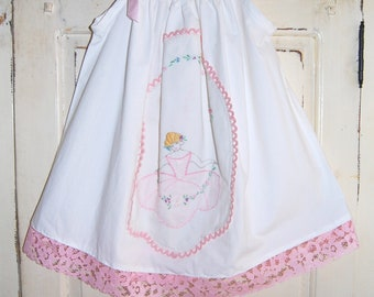 Vintage Baby Clothes, Baby Girls Photo Prop Dress, Photo Outfit, Photography Prop, Baby Shower Gift, Pink Southern Belle, Embroidery, OOAK