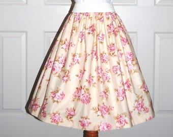 Vintage Style Skirt, Audrey Hepburn Look, Rockabilly Skirt, Pink Rose Bouguet Print, Gathered, Elastic Waist, Ladies, Teens, Twirly Skirt