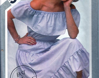 1980s Sewing Patterns, 80s Two Piece Dress, Off Shoulder Top, Ruffled Neckline, Ruffled Skirt, Elastic Pull On, Simplicity 9967, Bust 36