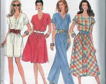 1990s Sewing Patterns, Jumpsuit Pattern, 2 Lenghts, Flared Dress, Button Front, V Neck, Kimono Sleeves, Simplicity 8925, Multi Size, Uncut