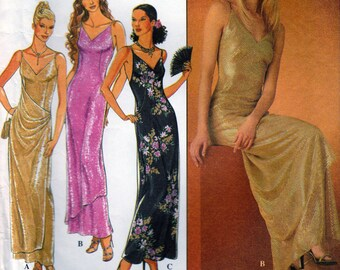 Evening Gown Sewing Pattern, 1990s STYLE, Fitted Dress, V Neckline, Scoop Back, Front Drape, Overlays, Simplicity 9030, Multi Sizes, UNCUT