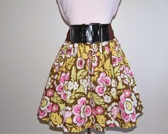 Vintage Style Cotton Skirt, Audrey Hepburn, Rockabilly Skirt, Brown Pink Floral Amy Butler Fabric, Gathered, Elastic Waist, Ladies, Teens