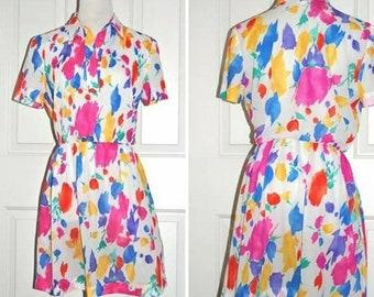 1970s Vintage Dress, 70s White Sheer Poly, Abract Floral, Short Sleeves, Pull Over, Elastic Waist, Open Front Neckline, California Girl, Med